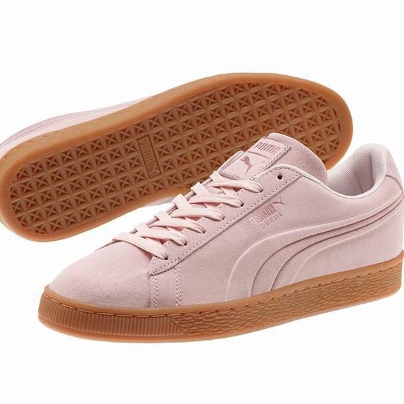 premium selection ea050 3b4a2 Puma Dusty Pink Suede Gum Sole Trainers
